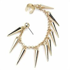 Gold Spike Tassel Rivet Chain Ear Cuff Cartilage Stud Post Earring Punk Rock