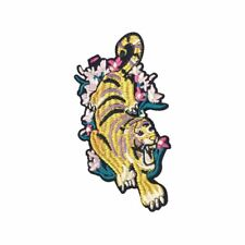 Tiger In Flowers L (Iron On) Embroidery Applique Patch Sew Iron Badge