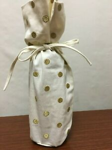 NEW Pottery Barn Polka Dot Set of 2 Gold Wine Bottle Tote Gift Bag NWT SOLD OUT