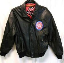 Vintage City Players Mens Detroit Pistons Black Leather Jacket Small