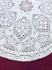 Collectible Cut Work Hand Made Linen Tablecover Wall Of China Design 12 Napkins