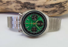 RARE VINTAGE CITIZEN BULLHEAD CHRONOGRAPH GREEN DIAL DAYDATE AUTO MAN'S WATCH