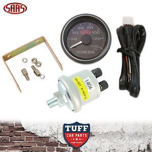 SAAS Oil Pressure Gauge Black Face Dial 52mm Multi Colour + Sender & Fitting Kit