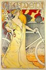 Clement Cycles Art Nouveau Bicycle Lady Bike French Vintage Poster Repro FREE /H
