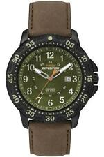 Timex T49996, Men's Expedition Brown Leather Watch, Indiglo, Date, T499969J