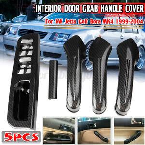 Carbon Look Front Rear Inner Door Handle Panel Cover For Jetta Golf MK4 1999-04