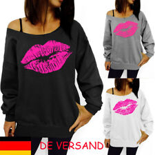 Damen Lippen Locker Freizeit Langarm One Shoulder Herbst Bluse Oberteil Tunika