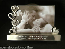 "Personalised Engraved Silver Hearts Photo Frame 6  x 4"" WEDDING ANNIVERSARY GIFT"