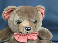 KAYBEE CHOCOLATE BROWN TEDDY BEAR POLKADOT BOW THE EARS PLUSH KAY BEE STUFFED