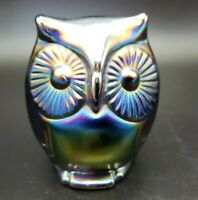 Fenton Art Glass Carnival Owl Figurine*Label 1970-1985*Amethyst*Blue*Green*HTF