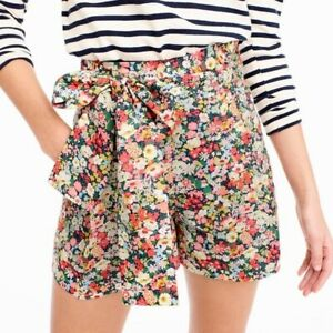 NEW J. Crew Liberty Wildflower Floral Print Tie Waist High Rise Shorts - 12