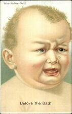 Baby's Habits Series #2 c1910 Postcard GREAT ART - BEFORE THE BATH