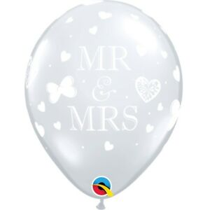 """Mr & Mrs Hearts Diamond Clear Party Helium Quality Latex Balloons 11"""" Qualatex"""