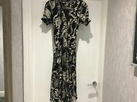 Zara Midi Maxi Dress, black & cream, size Medium 10-12