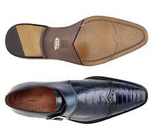 Belvedere Mens Shoes Salinas Ostrich Italian Calf Blue Safari 3B6