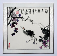 """Chinese painting birds flowers 16x16"""" watercolor Asian art brush ink small"""
