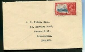 1935 Silver Jubilee Gambia 1d on a correct rate cover to England