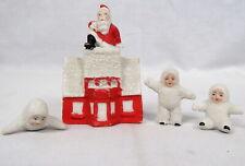 "Lot 4 Antique German Bisque Snow Baby Santa in Chimney, 1""-1 1/2"" Mini Babies"