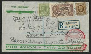 UK SEAHORSES TO ARGENTINA ZEPPELIN AIR MAIL COVER 1936 SCARCE
