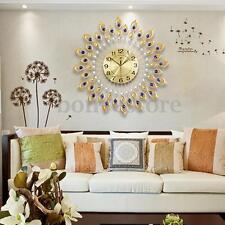 US Peacock Diamond Iron Round Art Wall Clock Living Bed Room Watch Home Decor