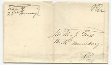 US Stampless Cover Folded Letter Trap, PA M/S January 23, 1832 12c Rate