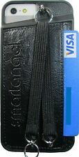 IPHONE 5/5S PU+LEATHER WALLET CASE W/Duo HAND+NECK STRAPS-Blk-Brown-Pupl-Red-Yel