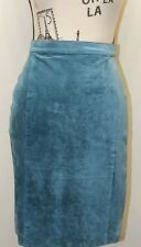 Maggie Lawrence Blue Leather Skirt Lined Fall Woman 28.5 Inches Sexy Size 12