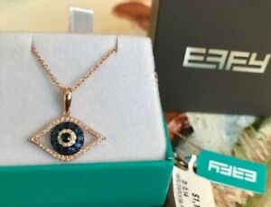 $1,195 EFFY 14k Rose Gold, Diamond & Blue Sapphire Evil Eye Necklace NEW