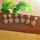 Luxury Christmas Snowflake Rhinestone Crystal Dangle Ear Stud Earrings Gift