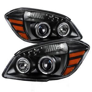 Chevy 05-10 Cobalt 07-10 Pontiac G5 Black Twin Halo LED Projector Headlights