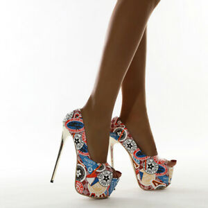 Women Peep-Toe High Heel Pump Sexy Stiletto Colorful Platform Party Dress Shoes
