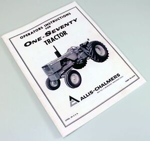 ALLIS CHALMERS 170 TRACTOR OWNERS OPERATORS MANUAL MAINTENANCE CONTROLS