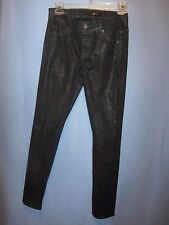 7 For All Mankind skinny black snake print jeans pants sz 24 (meas 28 x 29)