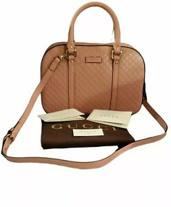 NEW 100% Authentic Gucci Microguccissima Leather Satchel/Crossbody Pink 510286