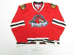 ROCKFORD ICEHOGS AUTHENTIC AHL RED REEBOK EDGE 1.0 7187 HOCKEY JERSEY SIZE 56