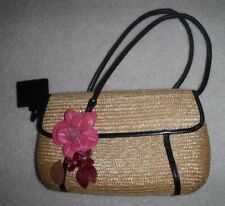 Cole Haan Straw Double Handle Bag With Flowers