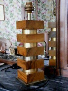 VINTAGE DESIGN 1970 GRANDE LAMPE METAL DORE BOIS D' OLIVIER  LAMP OLIVE WOOD