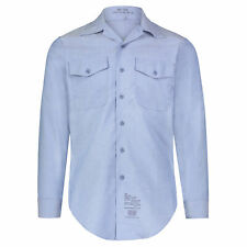 Authentic Vintage Us Military Gi Usn Fire Retardant Chambray Shirt, Light Blue
