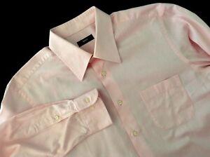 Hugo Boss Men's Shirt 16-1/2 32 33 Pink White Striped Button Down