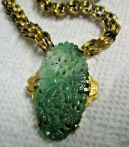 Hand Carved Jade Necklace Antique Georgian 14k Gold Pendant 9K Rollo Link Chain