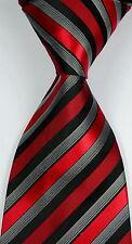 New Classic Striped Black Red White JACQUARD WOVEN Silk Men's Tie Necktie
