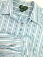 Ralph Lauren Womens Large Blouse RLL Monogram 100% Cotton Stripe Button Down Top