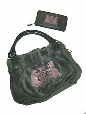JUICY COUTURE Gray Velour Daydreamer Purse Handbag Pink Bling WITH WALLET