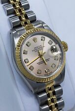 Rolex Datejust 69173 Jubilee 18K Yellow Gold & SS Factory Diamond Dial Ladies