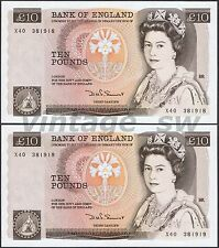 1975-92 GREAT BRITAIN £10 POUNDS X40 381918-19 P-379b AU *RUNNING NUMBER*