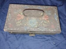 Vintage Pennsylvania Dutch Decorated Metal Cash Box