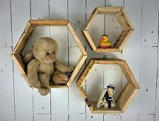 3 Handmade Hexagon wall hung display units shelf units + Hangers Reclaimed Wood