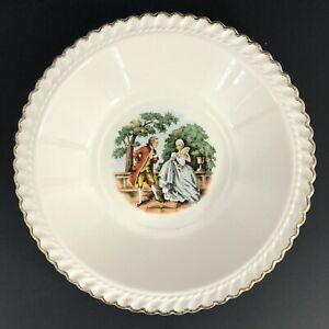 The Harker Pottery Company - 22 Kt. Gold - Colonial Couple - Serving Bowl