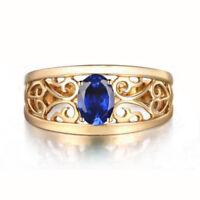 1,60Ct Ovale Form 585er Gelbgold 100% natürliche blaue Tansanit Verlobungsring