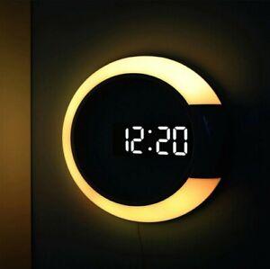 3D LED Digital Wall Clock Alarm Mirror Watch Table Clock 7 Colors Temperature